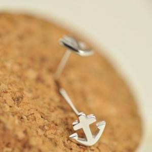 Anchor earring, Sterling silver Anc..