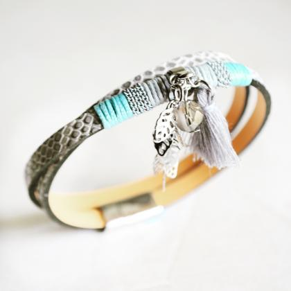 leather wrap bracelet,leather brace..