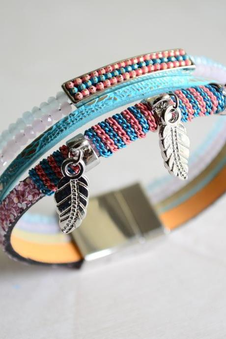 leather wrap bracelet, beaded bracelet, bracelet, silver beads bracelet, bracelet, leather bangle, tassel bracelet, leather jewelry